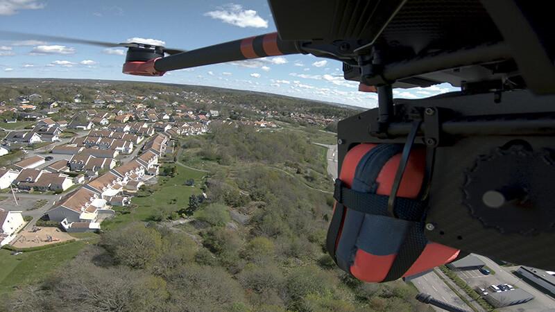 Defibrillator attached to a drone in closeup