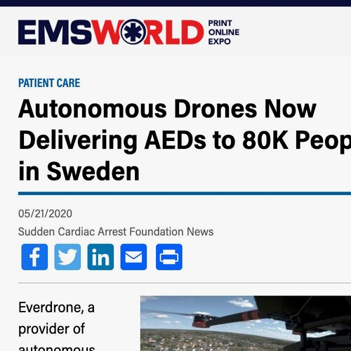 Autonomous Drones Now Delivering AEDs to 80K People in Sweden